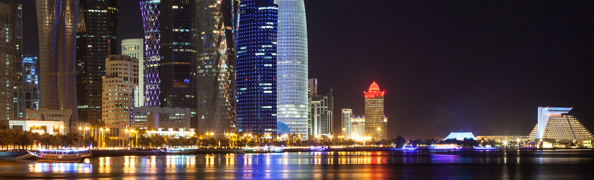 Doha West Bay downtown illuminated at night. Qatar Middle East