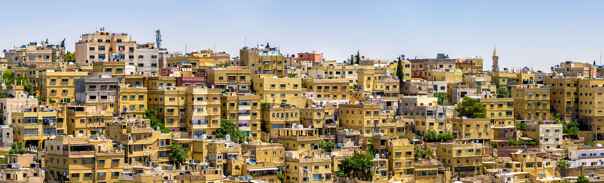 Panorama of Amman, the capital and most populous city of Jordan