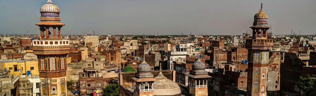 Panorama of Wazir Khan Mosque Lahore Pakistan