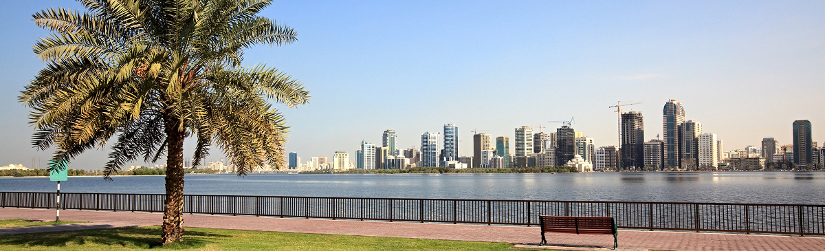 Embankment of Khalid Lagoon in the Sharjah.